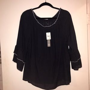 NWT Off the shoulder blouse with ruffle sleeves